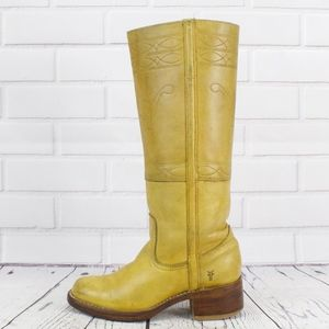 Vintage Frye Riding Campus Moto Boots Yellow RARE